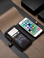 Недорогие -Кейс для Назначение Apple iPhone 6s / iPhone 6 Кошелек / Бумажник для карт / Флип Чехол Однотонный Твердый Кожа PU
