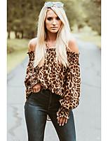 Недорогие -Жен. С принтом Блуза Богемный Леопард Хаки