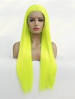 Недорогие -Синтетические кружевные передние парики Прямой Стиль Средняя часть Лента спереди Парик Зеленый флуоресцентный зеленый Искусственные волосы 8-26 дюймовый Жен. синтетический Зеленый Парик Средняя длина