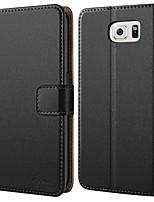 Недорогие -Кейс для Назначение SSamsung Galaxy S6 Кошелек / Защита от удара / Флип Чехол Однотонный Твердый Кожа PU