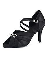 Недорогие -Жен. Сатин Обувь для латины Кристаллы На каблуках Тонкий высокий каблук Персонализируемая Черный