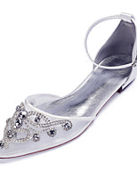 cheap -Women's Wedding Shoes Flat Heel Pointed Toe Classic Sweet Wedding Party & Evening Satin Mesh Rhinestone Pearl Solid Colored White Black Champagne
