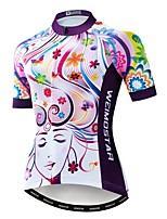Недорогие -WEIMOSTAR Жен. С короткими рукавами Велокофты Лиловый Велоспорт Джерси Верхняя часть Дышащий Виды спорта Полиэстер Эластан Терилен Горные велосипеды Шоссейные велосипеды Одежда / Слабоэластичная