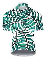 Недорогие -21Grams Цветочные ботанический Гавайи Муж. С короткими рукавами Велокофты - Зеленый Велоспорт Джерси Верхняя часть Дышащий Влагоотводящие Быстровысыхающий Виды спорта 100% полиэстер / Слабоэластичная