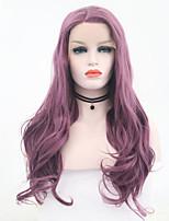 Недорогие -Парики из натуральных волос на кружевной основе Естественные кудри Стиль Средняя часть Лента спереди Парик Фиолетовый Фиолетовый Искусственные волосы 26 дюймовый Жен. Женский Фиолетовый Парик Длинные