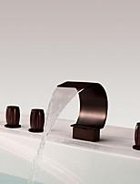 Недорогие -Смеситель для душа / Смеситель для ванны - Античный Начищенная бронза Разбросанная Медный клапан Bath Shower Mixer Taps