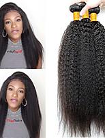 Недорогие -4 Связки Бразильские волосы Естественные прямые Не подвергавшиеся окрашиванию Необработанные натуральные волосы Головные уборы Человека ткет Волосы Удлинитель 8-28 дюймовый Естественный цвет