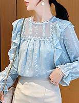 Недорогие -Жен. Кружева / Оборки / Пэчворк Блуза Однотонный Синий