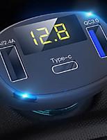 Недорогие -3-портовый USB-адаптер быстрой зарядки автомобильного зарядного устройства со светодиодным вольтметром / автоматическим Bluetooth-передатчиком FM-радио