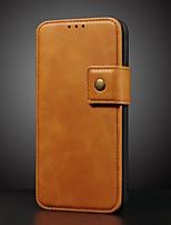 Недорогие -Кейс для Назначение Apple iPhone XS / iPhone XR / iPhone XS Max Кошелек / Бумажник для карт / со стендом Чехол Однотонный Настоящая кожа