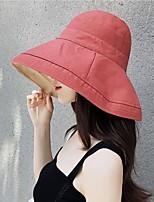Недорогие -Жен. Классический Симпатичные Стиль Соломенная шляпа Шляпа от солнца Хлопок Лён,Однотонный Лето Осень Черный Розовый Желтый