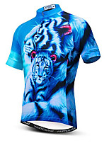 Недорогие -21Grams 3D Животное Tiger Муж. С короткими рукавами Велокофты - Синий Велоспорт Джерси Верхняя часть Дышащий Влагоотводящие Быстровысыхающий Виды спорта Полиэстер Эластан / Слабоэластичная