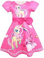 Недорогие -Дети Дети (1-4 лет) Девочки Активный Уличный стиль Мультипликация С короткими рукавами До колена Платье Розовый
