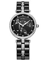Недорогие -Жен. Нарядные часы Кварцевый Керамика 30 m Светящийся Повседневные часы Аналоговый Роскошь Элегантный стиль - Черный Один год Срок службы батареи