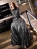 Недорогие -А-силуэт Вырез лодочкой В пол Пайетки Торжественное мероприятие Платье с Пайетки от LAN TING Express