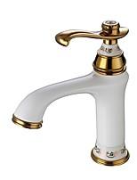 Недорогие -Ванная раковина кран - Широко распространенный Ti-PVD / Окрашенные отделки По центру Одной ручкой одно отверстиеBath Taps