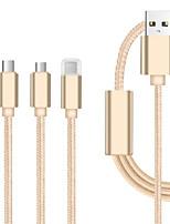 Недорогие -Micro USB / Подсветка / Type-C Кабель 1.3m (4.3Ft) Все в одном / Плетение / От 1 до 3 Нейлон Адаптер USB-кабеля Назначение iPad / Samsung / Huawei