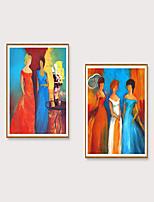 Недорогие -Отпечаток в раме Набор в раме - Абстракция Люди Полистирен Масляные картины Предметы искусства