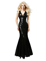 cheap -Mermaid / Trumpet Sexy Sparkle Wedding Guest Formal Evening Dress V Neck Sleeveless Sweep / Brush Train Sequined with Sequin 2020
