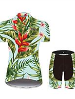 Недорогие -21Grams Цветочные ботанический Гавайи Жен. С короткими рукавами Велокофты и велошорты - Розовый + зеленый Велоспорт Наборы одежды Дышащий Влагоотводящие Быстровысыхающий Виды спорта 100% полиэстер