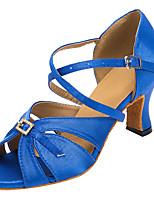Недорогие -Жен. Сатин Обувь для латины Пуговицы На каблуках Кубинский каблук Персонализируемая Синий