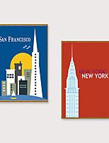 Недорогие -Отпечаток в раме Набор в раме - Пейзаж Мультипликация Полистирен Иллюстрации Предметы искусства