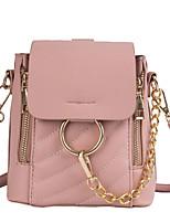 Недорогие -Водонепроницаемость PU Молнии рюкзак Сплошной цвет Повседневные Белый / Черный / Розовый / Наступила зима