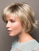 Недорогие -Парики из искусственных волос Естественный прямой Стиль Ассиметричная стрижка Без шапочки-основы Парик Золотистый Светло-золотой Искусственные волосы 8 дюймовый Жен. Для вечеринок / Женский Золотистый