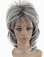 Недорогие -Парики из искусственных волос Естественный прямой Стиль Стрижка каскад Без шапочки-основы Парик Белый Черный / Белый Искусственные волосы 32~36 дюймовый Жен. Новое поступление Белый Парик