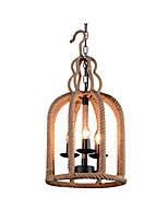 Недорогие -конопли веревки подвесной светильник крытый деко свет люстры 3 лампы клетки для птиц тень обеденный стол кухня остров огни подвесной цепи регулируемый