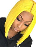Недорогие -Синтетические кружевные передние парики Прямой Стиль Средняя часть Лента спереди Парик Блондинка Желтый Искусственные волосы 10-12 дюймовый Жен. Регулируется / Жаропрочная / Для вечеринок Блондинка