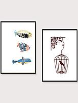 Недорогие -Отпечаток в раме Набор в раме - Животные Мультипликация Полистирен Постеры Предметы искусства