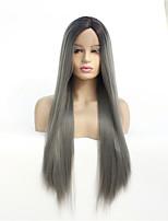 Недорогие -Синтетические кружевные передние парики Прямой Стиль Средняя часть Лента спереди Парик Темно-серый Черный / серый Искусственные волосы 8-26 дюймовый Жен. синтетический Темно-серый Парик Средняя длина
