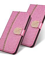 Недорогие -Кейс для Назначение SSamsung Galaxy A5(2018) / A6 (2018) / A6+ (2018) Кошелек / Бумажник для карт / Защита от удара Чехол Сияние и блеск Твердый Кожа PU