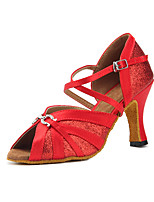 Недорогие -Жен. Танцевальная обувь Сатин Обувь для латины Планка На каблуках Кубинский каблук Персонализируемая Красный / Выступление