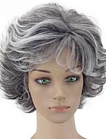Недорогие -Парики из искусственных волос Естественный прямой Стиль Стрижка каскад Без шапочки-основы Парик Белый Черный / Белый Искусственные волосы 26~30 дюймовый Жен. Новое поступление Белый Парик
