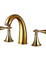 Недорогие -Ванная раковина кран - Широко распространенный Ti-PVD Разбросанная Две ручки три отверстияBath Taps