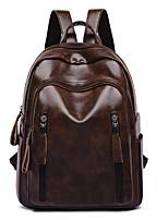 Недорогие -Большая вместимость PU Молнии рюкзак Сплошной цвет Школа Черный / Коричневый / Наступила зима