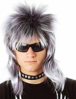 Недорогие -Парики из искусственных волос Естественный прямой Стиль Ассиметричная стрижка Без шапочки-основы Парик Красный Желтый Черный / серый Черный / Темно-Вино Искусственные волосы 14 дюймовый Муж.