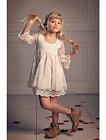 Недорогие -Дети Девочки Милая Шинуазери (китайский стиль) Жаккард Рукав до локтя Выше колена Платье Бежевый