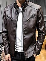 Недорогие -Муж. Повседневные Обычная Кожаные куртки, Однотонный Воротник-стойка Длинный рукав Полиуретановая Коричневый / Черный / Винный / Тонкие