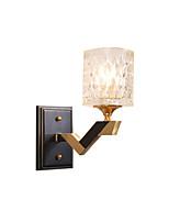 Недорогие -античный прозрачный стеклянный настенный светильник черный в помещении деко настенные светильники на металлической основе прикроватные настенные светильники настенное крепление стекло круглый абажур