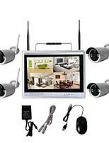 Недорогие -4-канальный 1080p 12lcd экран монитора беспроводной NVR Kit Система безопасности Wi-Fi Ip Kit