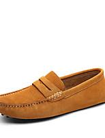 Недорогие -Муж. Комфортная обувь Кожа Весна Мокасины и Свитер Черный / Темно-русый / Темно-синий