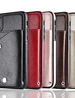 Недорогие -Кейс для Назначение Apple iPhone X / iPhone 8 Pluss / iPhone 8 Кошелек / Бумажник для карт Кейс на заднюю панель Однотонный Мягкий Настоящая кожа