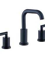 Недорогие -Ванная раковина кран - Широко распространенный черный Разбросанная Две ручки три отверстияBath Taps