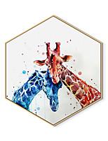 Недорогие -Отпечаток в раме Холст в раме С принтом - Животные Полистирен Иллюстрации Предметы искусства