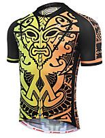 Недорогие -21Grams Ретро Муж. С короткими рукавами Велокофты - Черный / желтый Велоспорт Джерси Верхняя часть Дышащий Влагоотводящие Быстровысыхающий Виды спорта Терилен Горные велосипеды Одежда