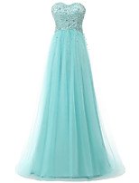 cheap -A-Line Elegant Sparkle Engagement Formal Evening Dress Sweetheart Neckline Sleeveless Sweep / Brush Train Tulle with Beading Sequin 2020