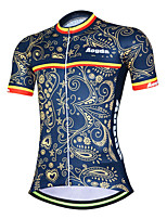 Недорогие -21Grams Цветочные ботанический Жен. С короткими рукавами Велокофты - Темно-синий Велоспорт Джерси Верхняя часть Дышащий Влагоотводящие Быстровысыхающий Виды спорта Терилен Горные велосипеды Одежда